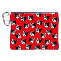 Cat Pattern Canvas Cosmetic Bag (xxl) by Valentinaart