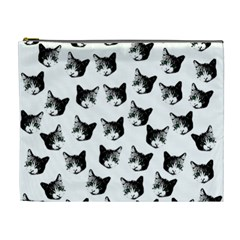 Cat Pattern Cosmetic Bag (xl) by Valentinaart