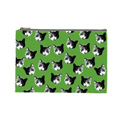 Cat Pattern Cosmetic Bag (large)  by Valentinaart