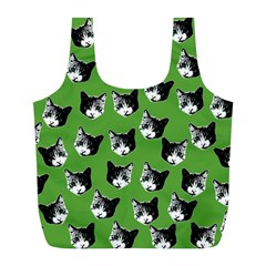 Cat Pattern Full Print Recycle Bags (l)  by Valentinaart