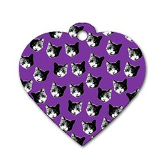 Cat Pattern Dog Tag Heart (two Sides) by Valentinaart