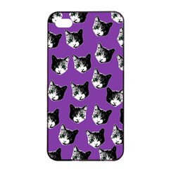 Cat Pattern Apple Iphone 4/4s Seamless Case (black) by Valentinaart
