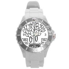 Seal Of Indian State Of Bihar  Round Plastic Sport Watch (l) by abbeyz71