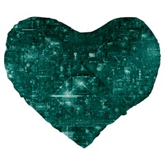 /r/place Emerald Large 19  Premium Flano Heart Shape Cushions by rplace