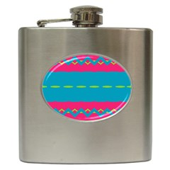 Blue Green Chains        Hip Flask (6 Oz) by LalyLauraFLM