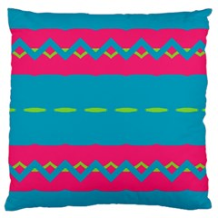 Blue Green Chains  Large Flano Cushion Case (two Sides) by LalyLauraFLM