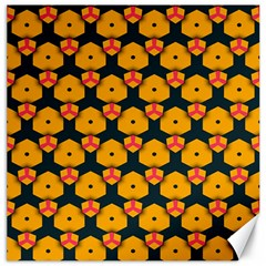 Yellow Pink Shapes Pattern         Canvas 16  X 16  by LalyLauraFLM