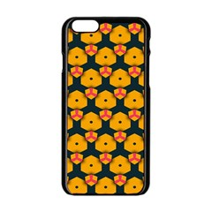 Yellow Pink Shapes Pattern   Apple Iphone 6/6s White Enamel Case by LalyLauraFLM