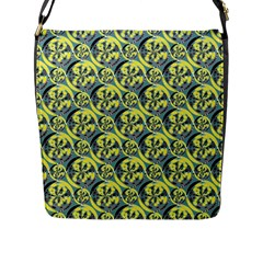 Black And Yellow Pattern Flap Messenger Bag (l)  by linceazul