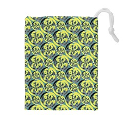 Black And Yellow Pattern Drawstring Pouches (extra Large) by linceazul
