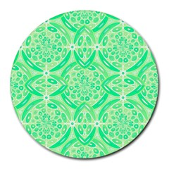 Kiwi Green Geometric Round Mousepads by linceazul