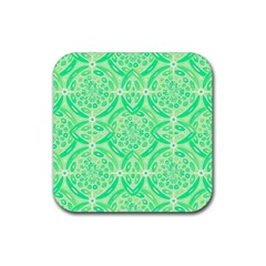 Kiwi Green Geometric Rubber Square Coaster (4 pack)  by linceazul