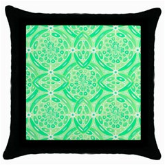Kiwi Green Geometric Throw Pillow Case (black) by linceazul