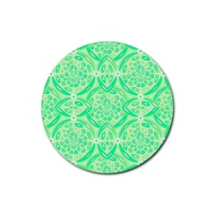 Kiwi Green Geometric Rubber Coaster (round)  by linceazul