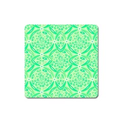 Kiwi Green Geometric Square Magnet by linceazul