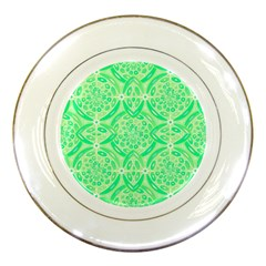 Kiwi Green Geometric Porcelain Plates by linceazul