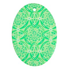 Kiwi Green Geometric Oval Ornament (two Sides) by linceazul