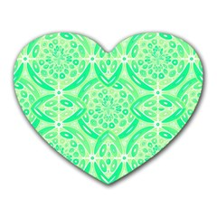 Kiwi Green Geometric Heart Mousepads by linceazul