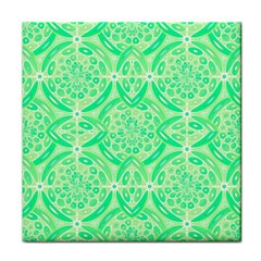 Kiwi Green Geometric Face Towel by linceazul