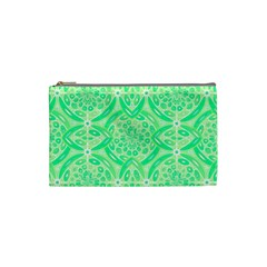 Kiwi Green Geometric Cosmetic Bag (small)  by linceazul