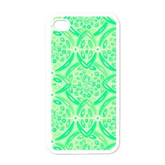 Kiwi Green Geometric Apple Iphone 4 Case (white) by linceazul