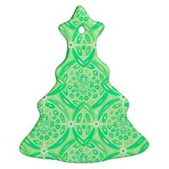 Kiwi Green Geometric Ornament (christmas Tree)  by linceazul