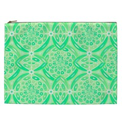 Kiwi Green Geometric Cosmetic Bag (xxl)  by linceazul