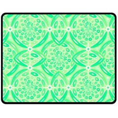 Kiwi Green Geometric Double Sided Fleece Blanket (medium)  by linceazul