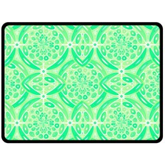 Kiwi Green Geometric Double Sided Fleece Blanket (large)  by linceazul