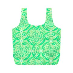 Kiwi Green Geometric Full Print Recycle Bags (m)  by linceazul