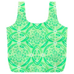 Kiwi Green Geometric Full Print Recycle Bags (l)  by linceazul
