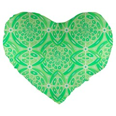 Kiwi Green Geometric Large 19  Premium Flano Heart Shape Cushions by linceazul