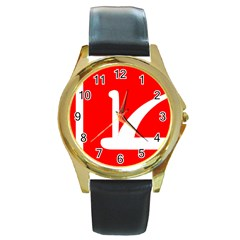 Flag Of Indian State Of Jammu And Kashmir  Round Gold Metal Watch by abbeyz71