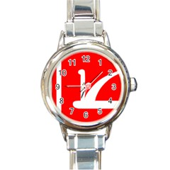 Flag Of Indian State Of Jammu And Kashmir Round Italian Charm Watch