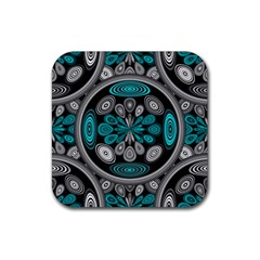 Geometric Arabesque Rubber Square Coaster (4 Pack)  by linceazul