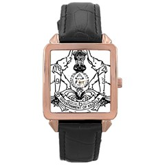 Seal Of Indian State Of Kerala Rose Gold Leather Watch  by abbeyz71