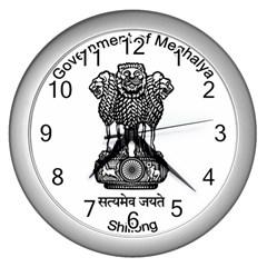 Seal Of Indian State Of Meghalaya Wall Clocks (silver)  by abbeyz71
