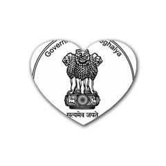 Seal Of Indian State Of Meghalaya Rubber Coaster (heart)  by abbeyz71