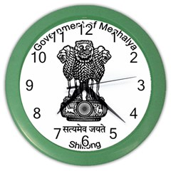 Seal Of Indian State Of Meghalaya Color Wall Clocks by abbeyz71