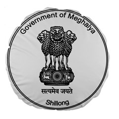 Seal Of Indian State Of Meghalaya Large 18  Premium Flano Round Cushions by abbeyz71