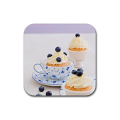 Blueberry Cupcakes Rubber Coaster (square)  by Coelfen
