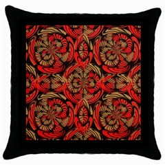Red And Brown Pattern Throw Pillow Case (black) by linceazul