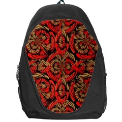 Red And Brown Pattern Backpack Bag by linceazul