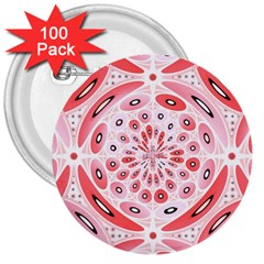 Geometric Harmony 3  Buttons (100 Pack)  by linceazul