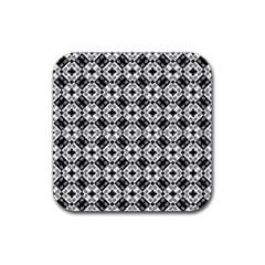 Geometric Modern Baroque Pattern Rubber Square Coaster (4 Pack)  by dflcprints