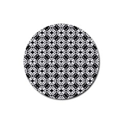 Geometric Modern Baroque Pattern Rubber Round Coaster (4 Pack)  by dflcprints