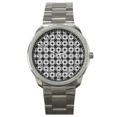 Geometric Modern Baroque Pattern Sport Metal Watch by dflcprints