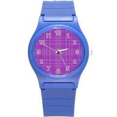 Plaid Design Round Plastic Sport Watch (s) by Valentinaart