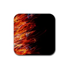 Fire Rubber Square Coaster (4 Pack)  by Valentinaart