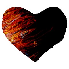 Fire Large 19  Premium Heart Shape Cushions by Valentinaart